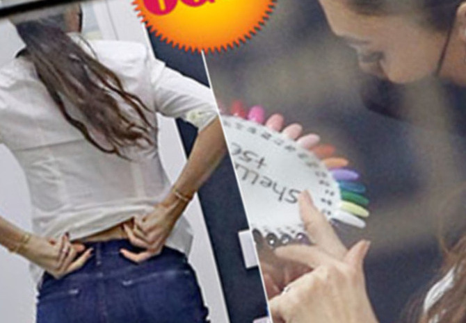 Belen rodriguez Pregnant: tight jeans, shoe shopping and manicure